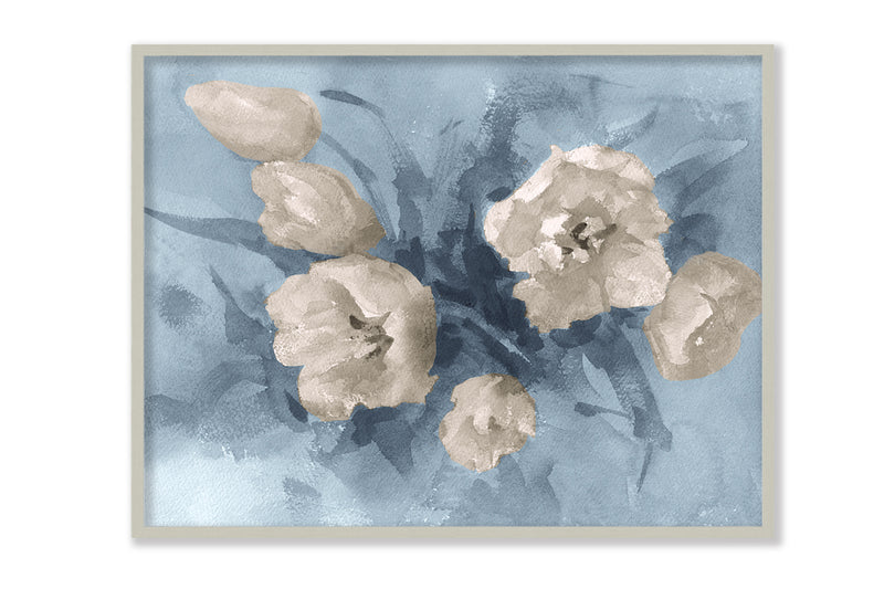 Tulips Painting in Blue-brown Canvas Art