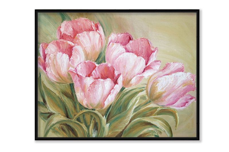 Tulips Painting Pink Canvas Art