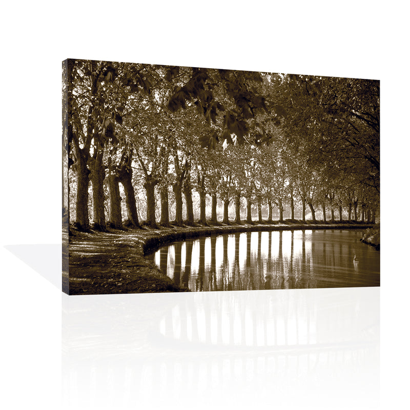 Tree Line at Pond, Canvas Art