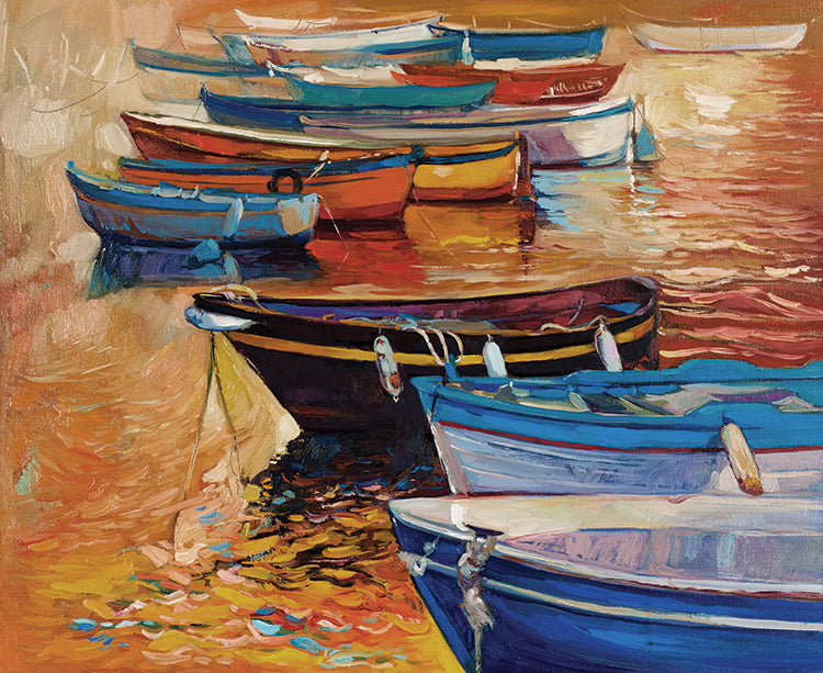 Rowboats Moored on Ocean