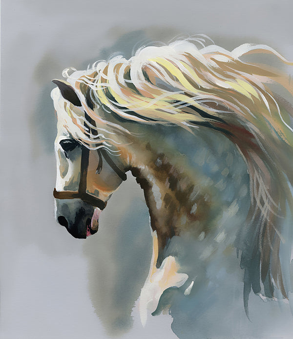 White Stallion Painting