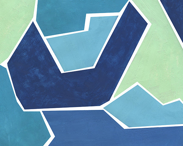 Teal and Blue Jigsaw, Abstract