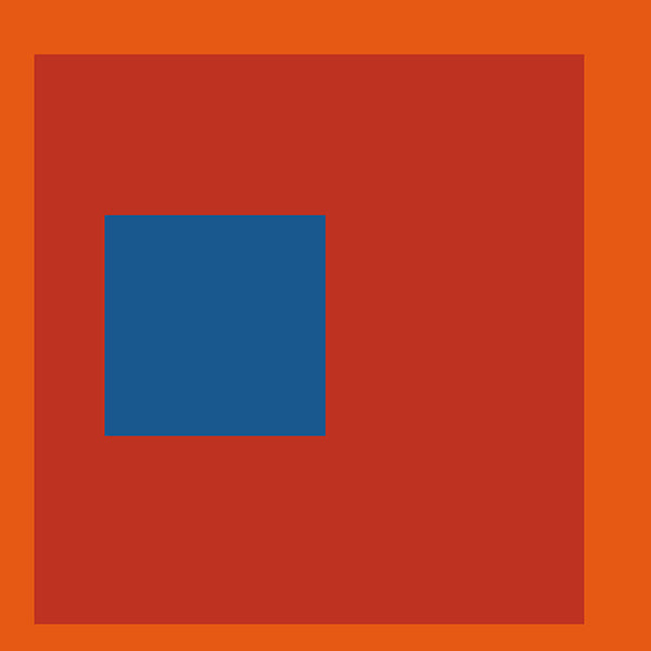 Blue Square on Red