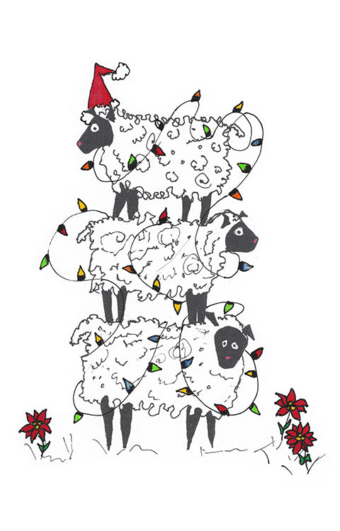 Stacked Sheep at Christmas,  Canvas Art