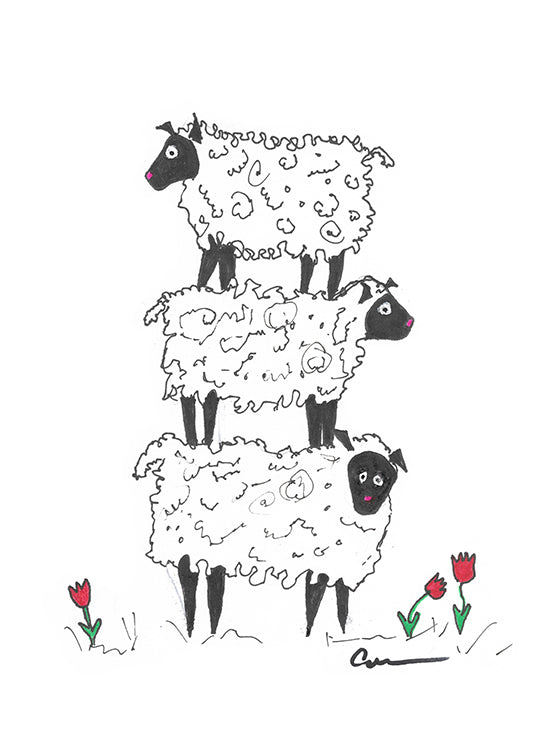 Stacked Sheep,  Canvas Art