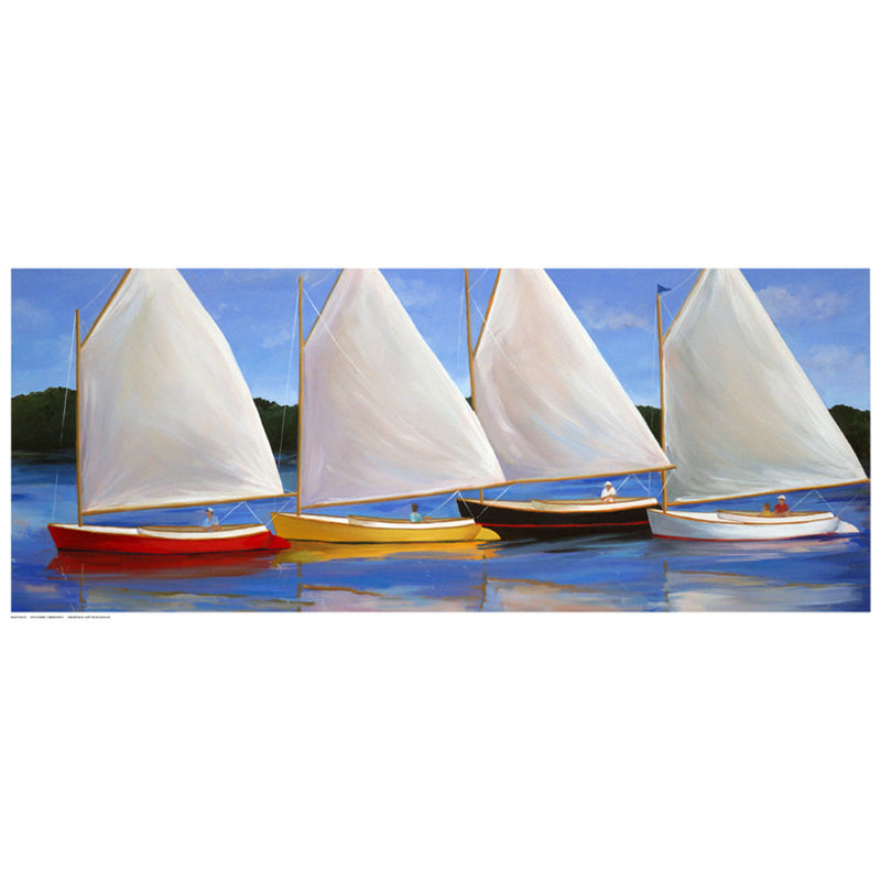 Colored Catboats Coastal by Carol Saxe - FairField Art Publishing