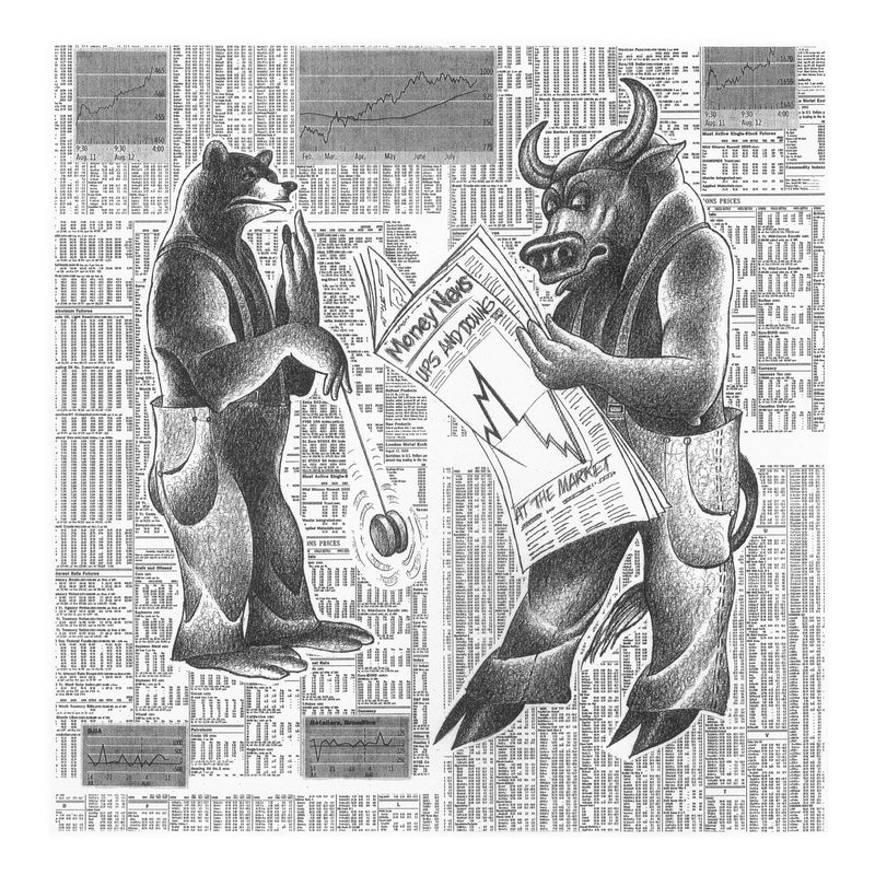 Market Ups and Downs Drawing Print by Roger Vilar - FairField Art Publishing