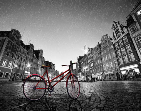 Red Bike on Cobble Stone Street