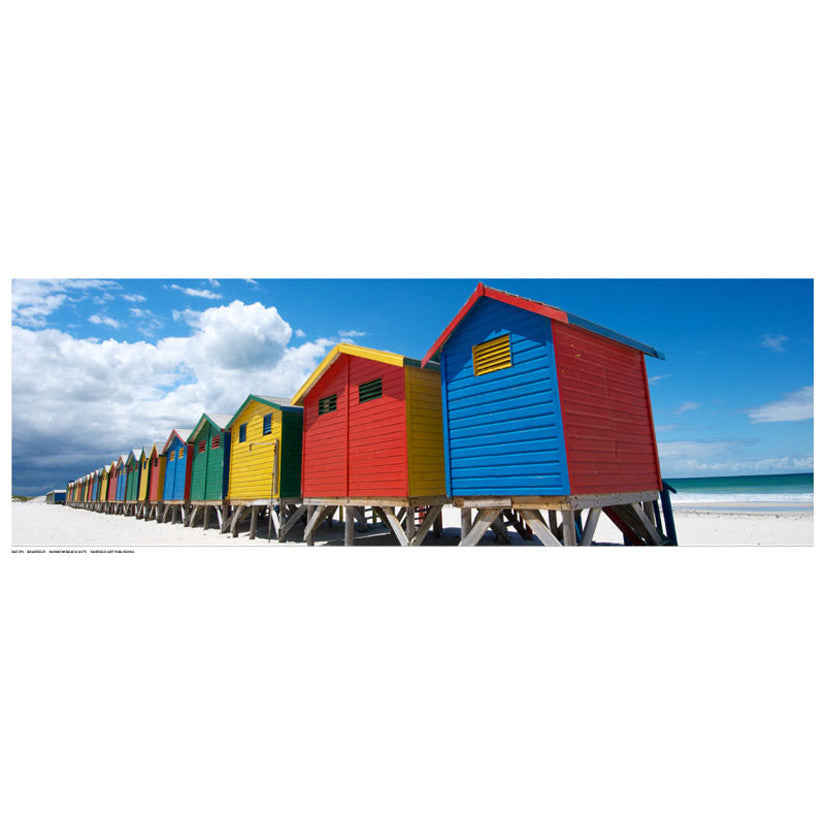 Rainbow Beach Huts Posters by N. Bradfield - FairField Art Publishing