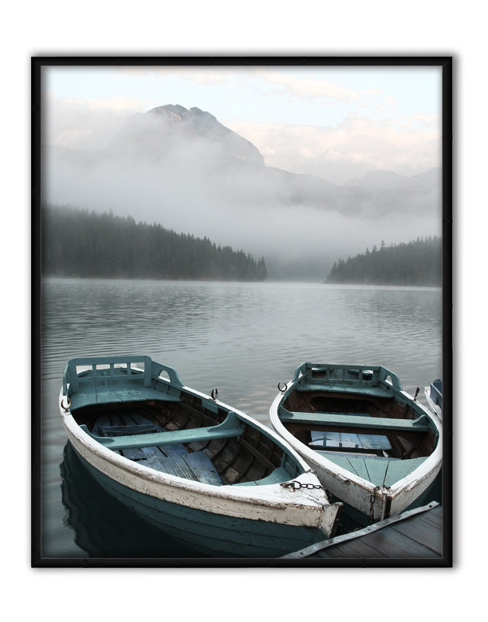Two Rowboats at Pier Canvas Art