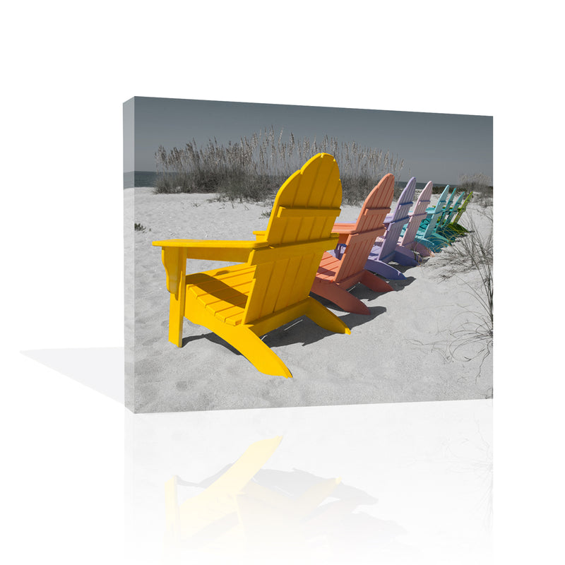 Colorful Beach Chairs Canvas
