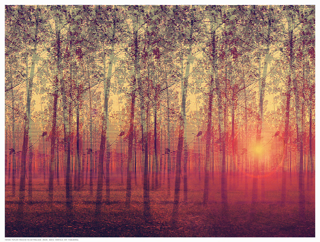 Poplar Trees in the Setting Sun Decorative by Anon - FairField Art Publishing