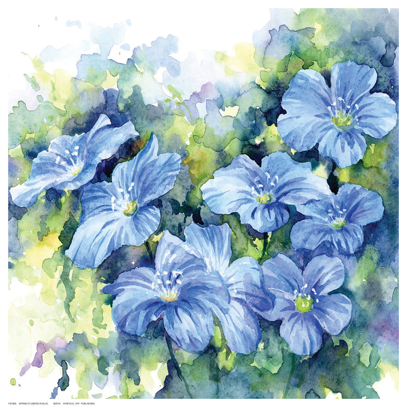 Spring Flowers in Blue Posters by Anon - FairField Art Publishing