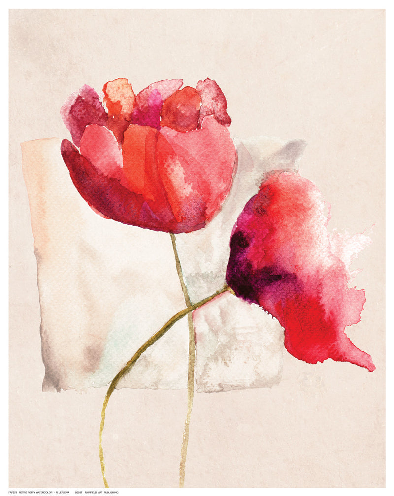Retro Poppy Watercolor Floral by R. Jersova - FairField Art Publishing