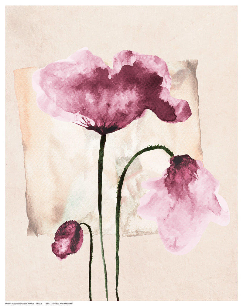 Violet Watercolor Poppies Floral by Olga Z. - FairField Art Publishing