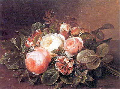 Roses & Honeysuckle on a Ledge Floral by Johan Laurentz Jensen - FairField Art Publishing