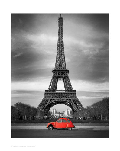 Retro Red and the Eiffel Tower (Small) Posters by Anon - FairField Art Publishing