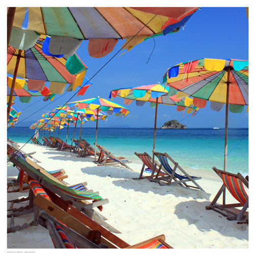 Parasols on a Tropic Isle II Posters by Mosin - FairField Art Publishing