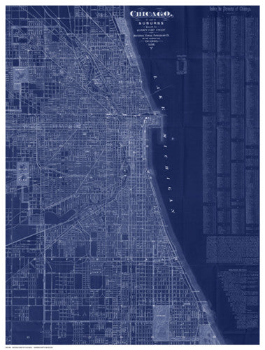 Antique Map of Chicago (blue) Architecture by Blanchard - FairField Art Publishing