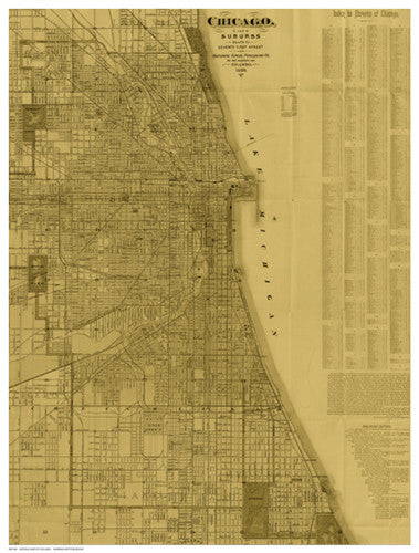 Antique Map of Chicago (neutral) Architecture by Blanchard - FairField Art Publishing
