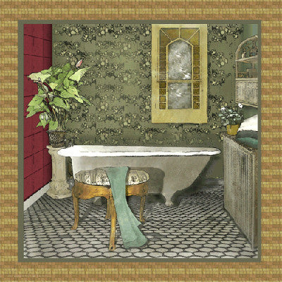 Bathroom in Green II Decorative by Lenny Karcinell - FairField Art Publishing