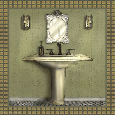 Bathroom in Green III by Lenny Karcinell - FairField Art Publishing