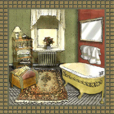 Bathroom in Green IV by Lenny Karcinell - FairField Art Publishing