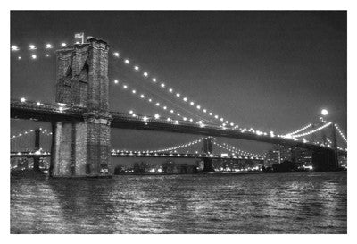 Brooklyn Bridge and Manhattan Bridge, Night Photography by Phil Maier - FairField Art Publishing