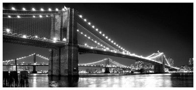 Brooklyn Bridge and Manhattan Bridge at Night Photography by Phil Maier - FairField Art Publishing