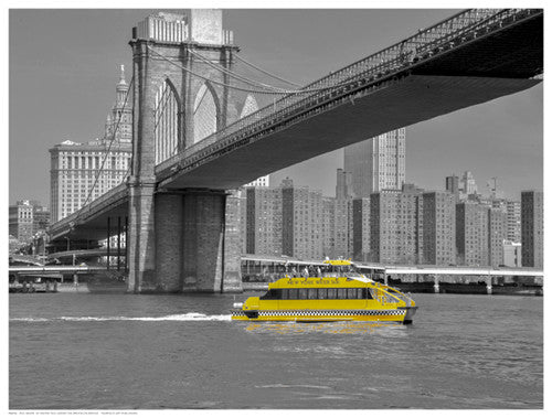 NY Water Taxi Under Brooklyn Bridge by Phil Maier - FairField Art Publishing