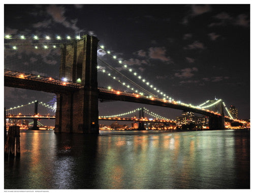 Brooklyn Bridge at Night (color) Photography by Phil Maier - FairField Art Publishing