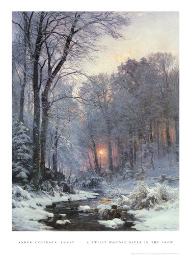 A Twilit Wooded River in the Snow by Ander Andersen-Lunby - FairField Art Publishing