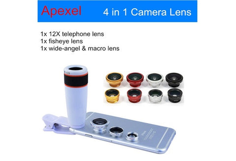 Universal Clip-on Mobile Phone Lens (12x Telephoto Lens, Wide Angle Lens, Macro Lens, Fish Eye Lens)for Mobile Phones
