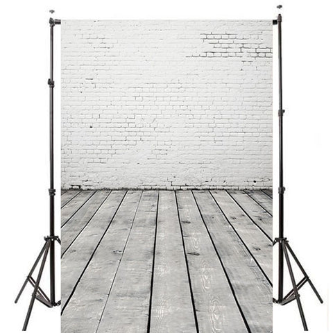 White Brick Wall & Wood Floor For Better Photography Backdrop