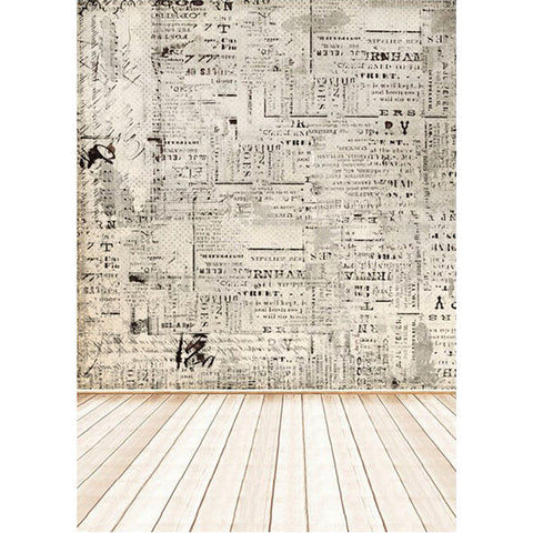 Vintage Newspaper & Wood Floor Photography Studio Backdrop For Photography