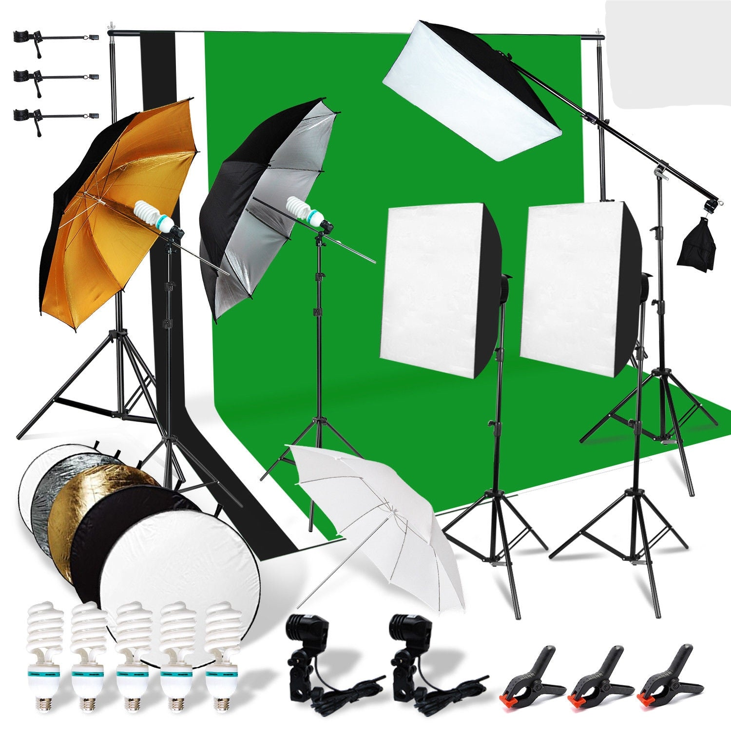 MEGA 30-piece Studio Kit (3-point lighting, reflectors, umbrellas, backdrops, stands, and more)