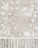 Snowflake Christmas Winter Photography Studio Backdrop With Wooden Floor For Decoration