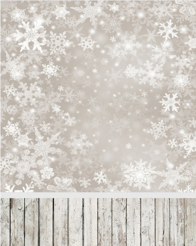 Snowflake Christmas Winter Photography Studio Backdrop with Wooden Floor
