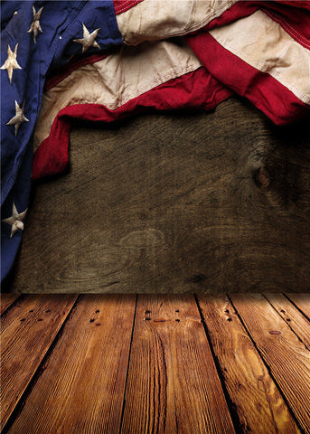 American Flag & Wood Floor Photography Studio Backdrop