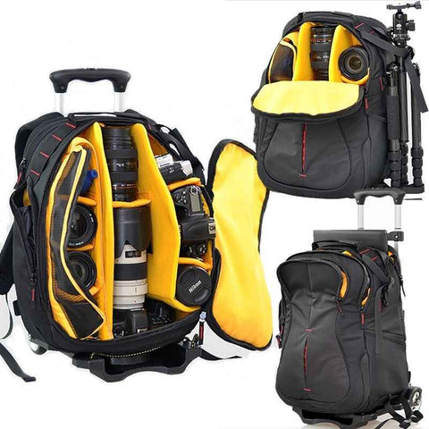 OVERSTOCK SALE: Mega Capacity Multifunction Camera Backpack w/ Wheels for Hiking or Travel