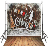 Merry Christmas Photography Studio Backdrop with Wooden Floor