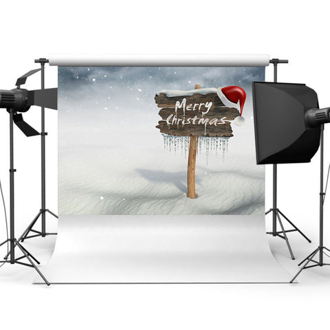 Merry Christmas Sign with Snow Photography Backdrop