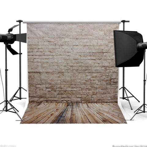 Neutral Brick Wall & Wood Floor Photography Studio Backdrop