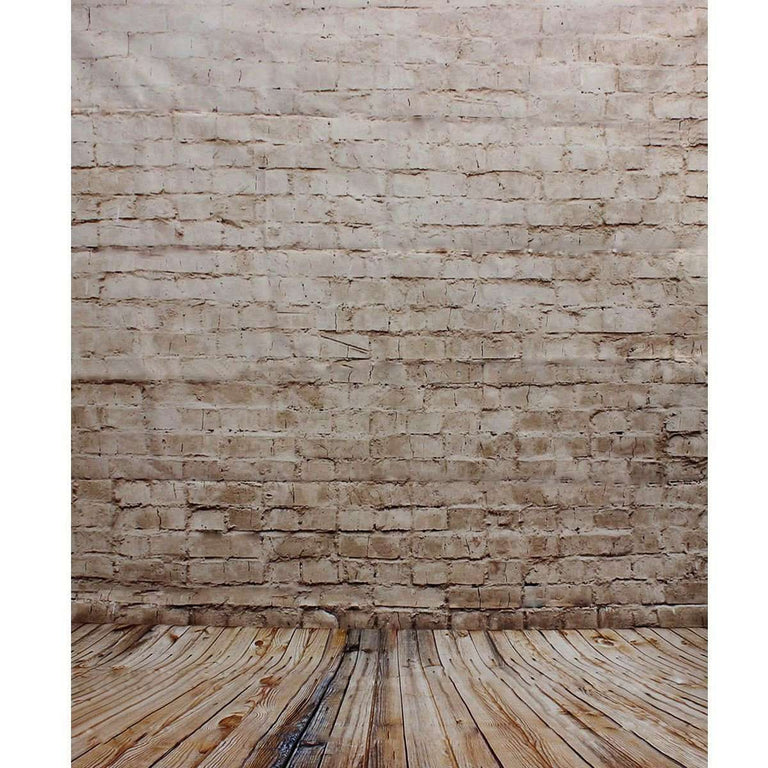 neutral brick wall wood floor photography studio backdrop camera