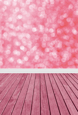 Pink Bokeh & Pink Wood Floor Photography Studio Backdrop