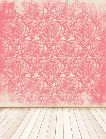pink heart vintage photography studio backdrop with wood floor - Valentines Backdrops