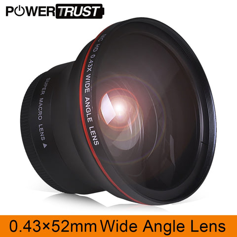 52MM 0.43x Professional HD Wide Angle Lens (w/Macro Portion) for Nikon D7100 D7000 D5500 D5300 D5200 D5100 D3300 DSLR Cameras