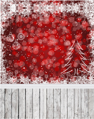 Red Bokeh Snow Christmas Photography Studio Backdrop with Wooden Floor
