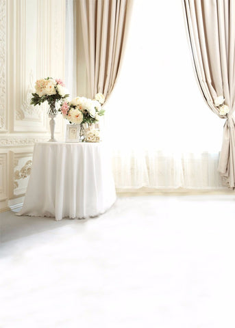 Crisp, Creme-colored Room Photography Studio Backdrop With Photograghy Background.