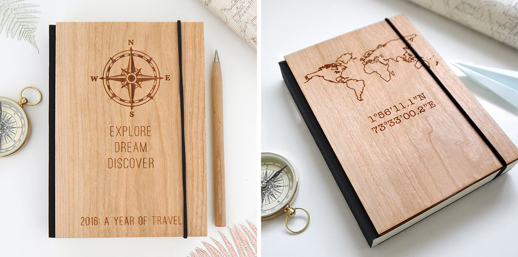 wooden personalised travel journals